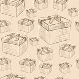 Gift boxes seamless texture Stock Photo