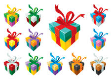 Gift boxes set colorful Stock Photography