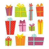 Gift boxes. Set of cute colorful gift boxes in stock illustration