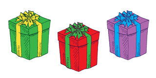 Gift boxes set. Hand drawn doodle vector, pop art, comic style illustration, Gift boxes set Royalty Free Stock Photo
