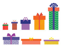 Gift boxes set. Set of isolated colourful gift boxes on white background Royalty Free Stock Photography