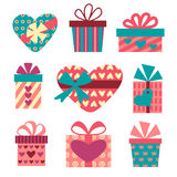 Gift boxes set for Valentines Day Royalty Free Stock Image