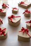 Gift boxes shape heart Royalty Free Stock Photos