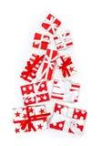 Gift boxes shaped Christmas tree Holidays background. Gift boxes white red shaped Christmas tree. Holidays background royalty free stock photos