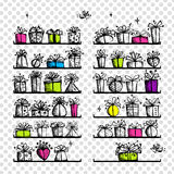 Gift boxes on shelves, sketch drawing Royalty Free Stock Photos