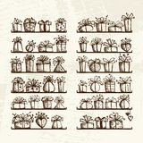 Gift boxes on shelves, sketch drawing for your Royalty Free Stock Photos