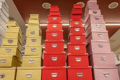 Gift boxes on shelves in the store. For Birthday and New Year celebration royalty free stock photo
