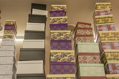 Gift boxes on shelves in the store. For Birthday and New Year celebration stock photography