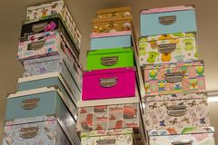 Gift boxes on shelves in the store. For Birthday and New Year celebration stock images