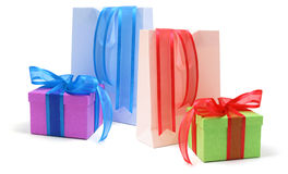 Gift Boxes and Shopping Bags. On Isolated White Background Stock Photo