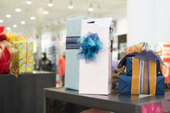 Gift boxes in shopping center Royalty Free Stock Photos