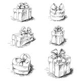 Gift boxes sketch Royalty Free Stock Photo