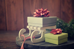 Gift boxes and sled Stock Photo