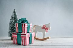 Gift boxes on sled Stock Photos