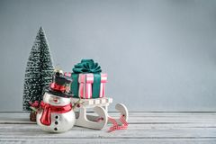 Gift boxes on sled Royalty Free Stock Images