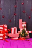 Gift boxes and small decorated Christmas tree Stock Photography