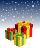 Gift boxes in the snow Stock Photography