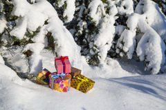 Gift boxes on snow Stock Images