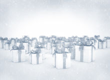 Gift boxes in snow Stock Photo
