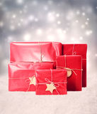 Gift boxes in snowing night Royalty Free Stock Photo