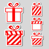 Gift boxes stickers set Royalty Free Stock Photography