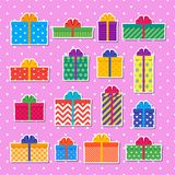 Gift boxes stickers. Set of colorful presents. Vector. Gift boxes stickers in flat design. Wrapped presents with bows and ribbons. Vector. Set elements isolated Stock Photography