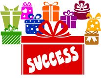 Gift boxes with SUCCESS text. Stock Image