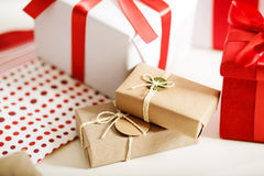 Gift boxes on table Stock Images