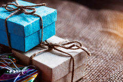 Gift boxes on a table. Royalty Free Stock Photos