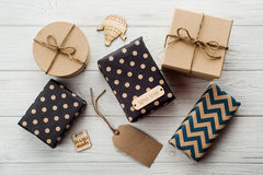 Gift Boxes with Tag hand made Royalty Free Stock Image