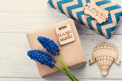 Gift Boxes with Tag Love Stock Photography