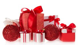 Gift boxes with tapes and bows Royalty Free Stock Photography