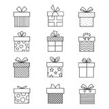 Gift boxes thin line icons. Vector present box linear signs set for celebration design. Collection of linear boxes for gift packaging illustration Stock Image