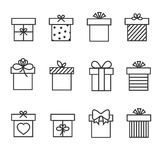 Gift boxes thin line vector icons. Box for gift and present gift box in linear style Stock Photo