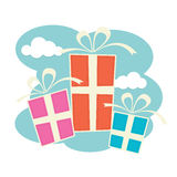 Gift Boxes. Three gift boxes in blue, pink and orange vector illustration