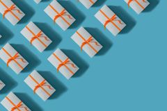 Gift boxes tied with red ribbons. Christmas concept vector illustration