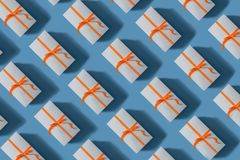 Gift boxes tied with red ribbons. Christmas concept stock image