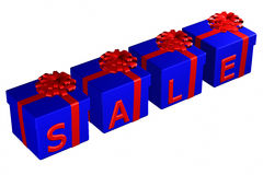 Gift boxes tied ribbon with a bow with word sale. 3D rendering. stock illustration