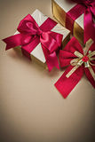 Gift boxes with tied ribbons red bow holidays Stock Photos