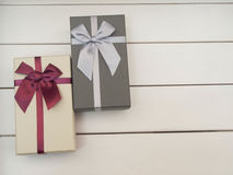 Gift boxes tied with ribbons Royalty Free Stock Images
