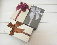Gift boxes tied with ribbons Royalty Free Stock Image