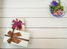 Gift boxes tied with ribbons Stock Photography