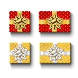 Gift boxes top view isolated set Vector template. Gift boxes top view set, isolated white background. Silver ribbons bow on gold red giftboxes. Present design Royalty Free Stock Photography