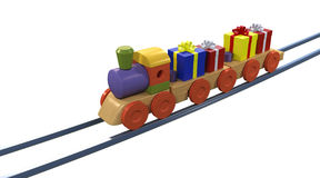 Gift Boxes on Toy Train Stock Image
