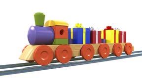 Gift Boxes on Toy Train Stock Photos