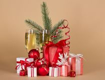 Gift boxes, toys, Christmas tree, serpentine, Royalty Free Stock Photography