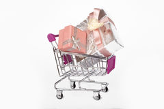 Gift Boxes in Trolley Shopping Card Stock Photography