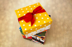 Gift boxes. Two gift boxes with red ribbon bow stock images