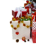 Gift boxes under Christmas tree Royalty Free Stock Images