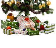 Gift boxes under Christmas tree Royalty Free Stock Photo